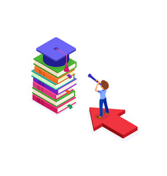 isometric education graduate achievements vector image