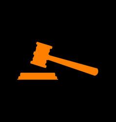 justice hammer sign orange icon on black vector image
