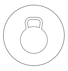 kettlebell icon black color in circle or round vector image