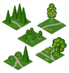 Landscape isometric tile set cartoon or game asse vector