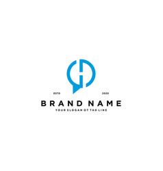 Letter h chat logo design vector