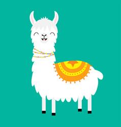 Llama alpaca cute cartoon funny kawaii smiling vector