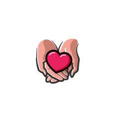 love giving heart love hands holding logo vector image