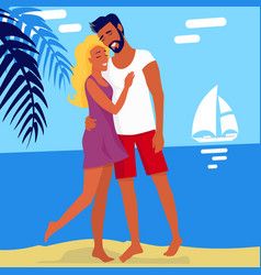 lovely hugging couple isolated on summer beach vector image