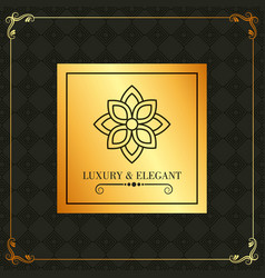 luxury and elegant golden label flower and vector image