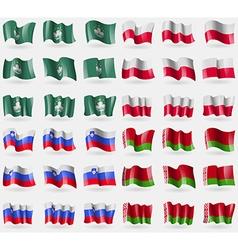 Macau Poland Slovenia Belarus Set of 36 flags of vector
