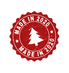 made in 2020 scratched stamp seal with fir-tree vector image
