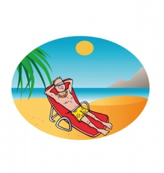 man tanning beach vector image