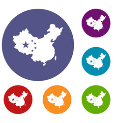 map of china icons set vector image