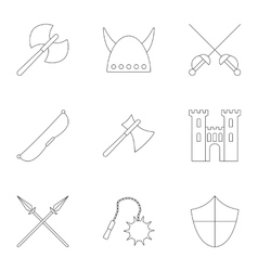Medieval armor icons set outline style vector image