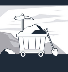 mining zone and tools vector image