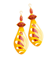 Multicolored image golden earrings on a white vector