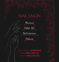 Nail salon black luxury template of a poster a vector