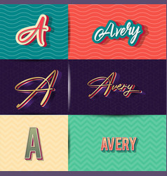 Name avery in various retro graphic design vector