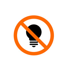 no light forbidden light bulb sign vector image