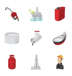 Oil icons set cartoon style vector