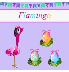 One flamingos and three painted eggs vector
