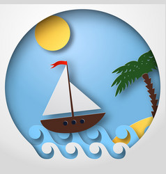 Paper art sailing boat float on the tropical sea vector