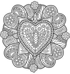 Pattern with hearts for coloring book page vector