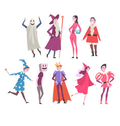 People in festival costumes set person taking vector