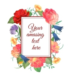 postcard with a square frame roses vector image