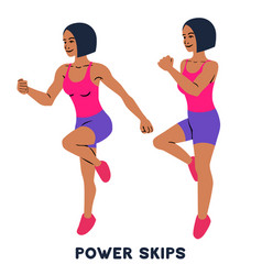 Power skips sport exersice silhouettes woman vector