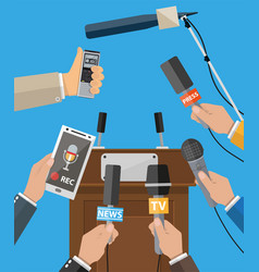 Press conference concept news media journalism vector