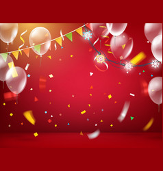 Red illuminated room with balloons and flags and vector