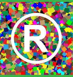 Registered trademark sign white icon on vector