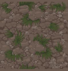 seamless ground pattern with grass soil texture vector image