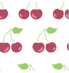 seamless pattern hand drawn cherries vector image