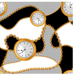 Seamless pattern with golden chains and watches vector