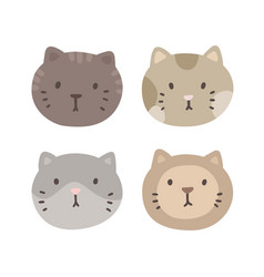 set four cats faces vector image