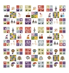 Set of flat icons with long shadow celebration vector