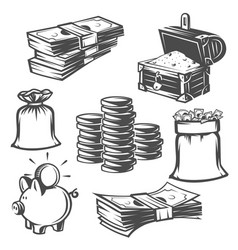 Set of money cash black and white objects vector