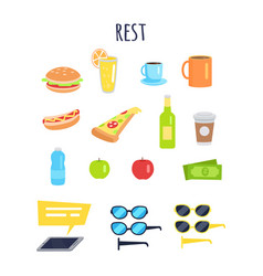 Set of rest for men accessories and food graphic vector