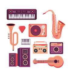 set professional instruments to play in the music vector image
