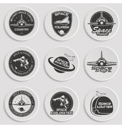 Set retro and modern space travel badges vector