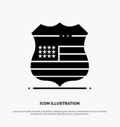 shield sign usa security solid glyph icon vector image