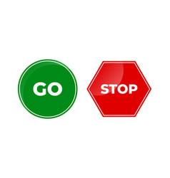 Sign stop and go glossy icon isolated on white vector