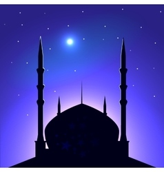 Silhouette of the mosque on a background of the vector image