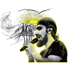Singer portrait of an unknown bearded vocalist vector