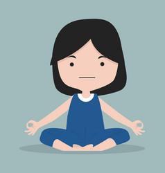 small girl happy meditating yoga vector image
