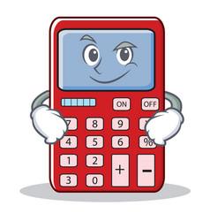 Smirking cute calculator character cartoon vector