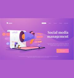 Social media management landing page template vector