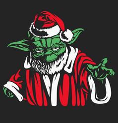 Star wars holiday santa yoda vector