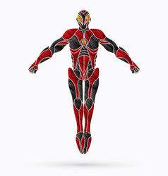 Superhero robot action cartoon superhero vector
