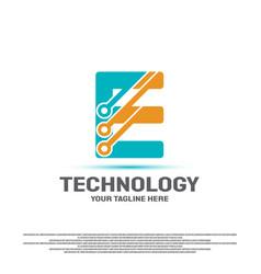 Technology logo design with initial e concept vector