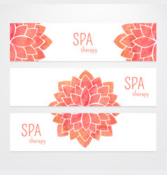 templates of banners watercolor red lotus vector image