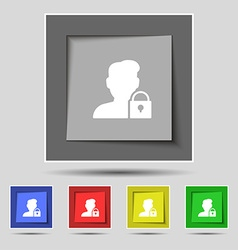 user is blocked icon sign on original five colored vector image